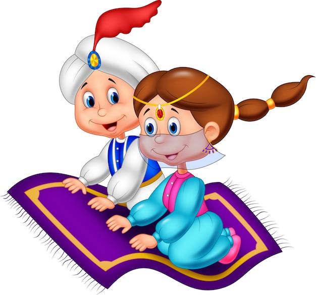 Aladdin su un tappeto volante che viaggia Vettore Premium