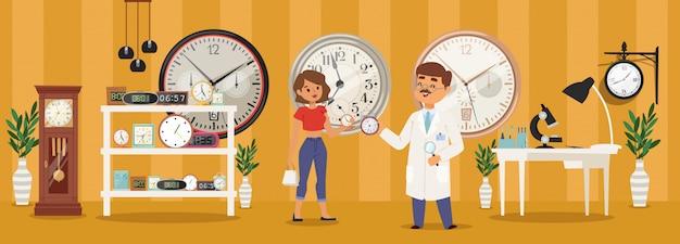 Illustrazione delle sveglie, di vendita e di riparazione della sveglia. dispositivo per misurare il tempo, parlare di carattere dell'orologiaio Vettore Premium