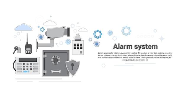 Illustrazione di vettore dell'insegna di web di assicurazione di protezione di sicurezza del ladro dell'allarme Vettore Premium