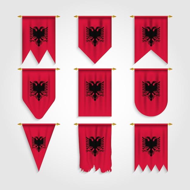 Bandiera albania in varie forme Vettore Premium