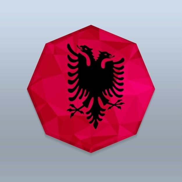 Bandiera dell'albania con il vettore di progettazione octagone Vettore Premium