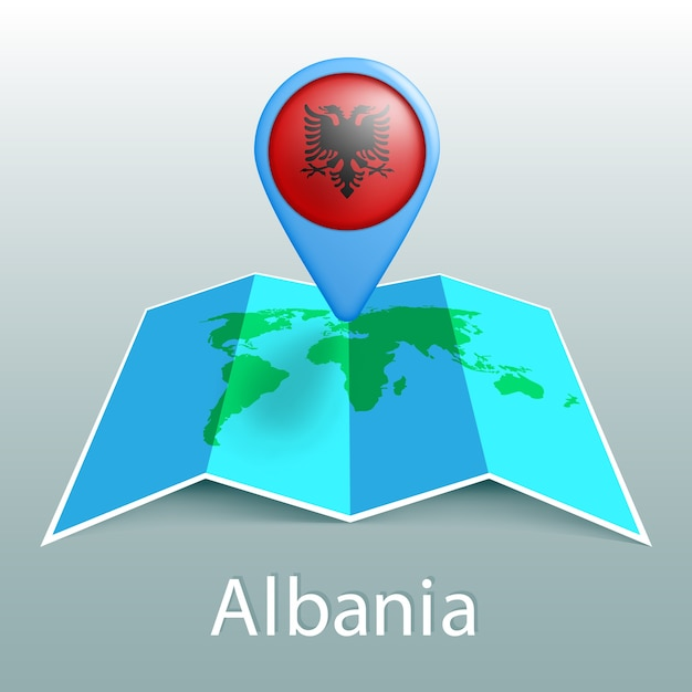 Albania bandiera mappa del mondo nel pin con il nome del paese su sfondo grigio Vettore Premium