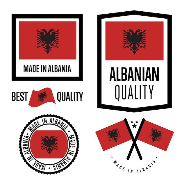 Set di marchi di qualità albania Vettore Premium