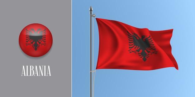 Albania sventolando bandiera sul pennone e icona rotonda illustrazione Vettore Premium