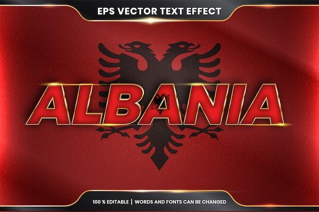 Albania con la sua bandiera nazionale del paese, stile di effetto di testo modificabile con il concetto di colore oro Vettore Premium