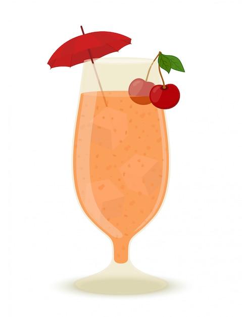 Cocktail alcolico con ghiaccio, ciliegia e ombrello Vettore Premium