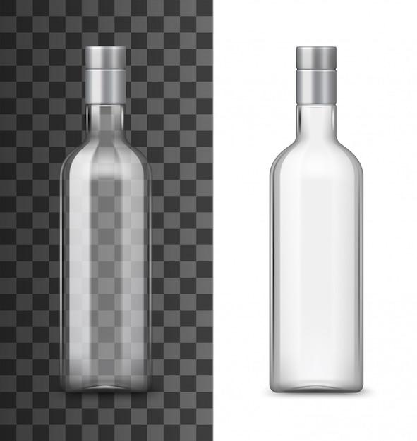 Bere alcolici bottiglia di vetro realistica Vettore Premium
