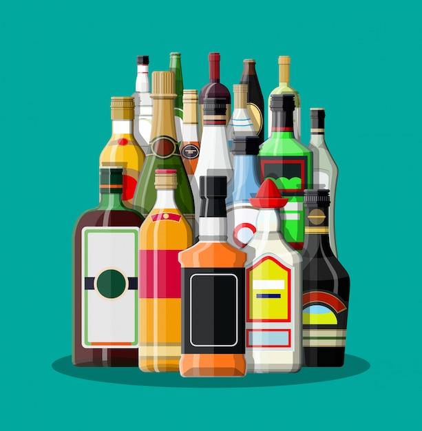 Raccolta di bevande alcoliche Vettore Premium