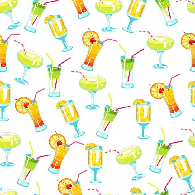 Cocktail alcolici e bevande con motivo a cannucce senza soluzione di continuità Vettore Premium