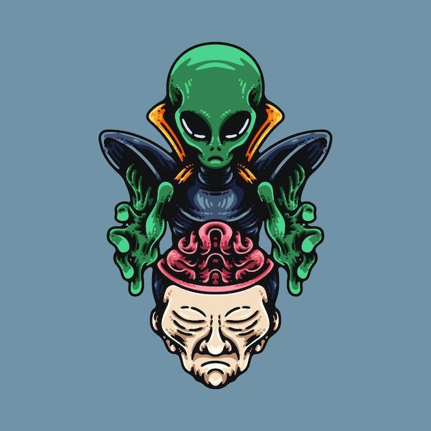 Umano di lavaggio del cervello alieno Vettore Premium