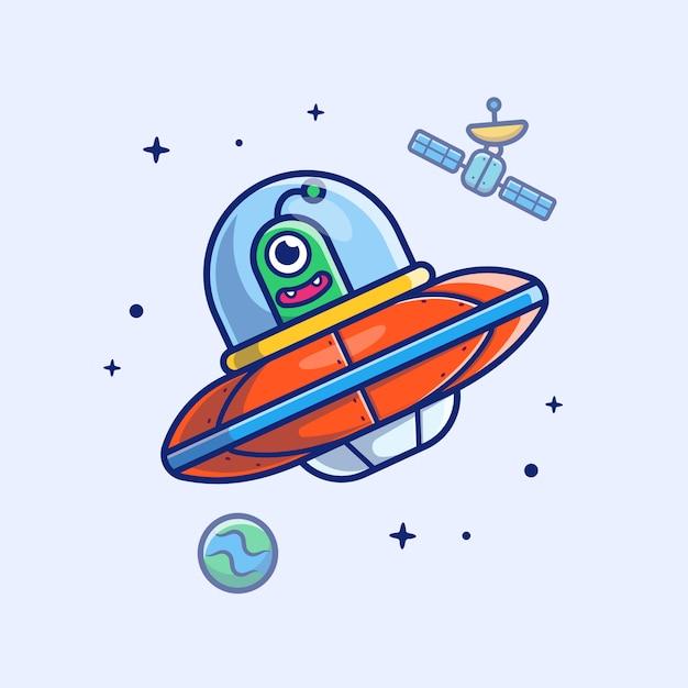 Icona alien spaship. satellite straniero dello spaship, pianeta e stelle, bianco dell'icona dello spazio isolato Vettore Premium