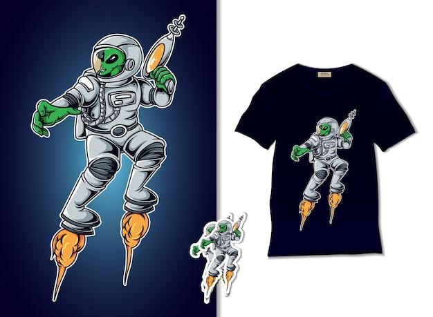Illustrazione di guerra aliena Vettore Premium