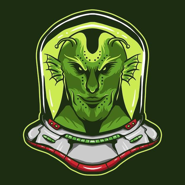Alieno che indossa il design del casco da astronauta Vettore Premium