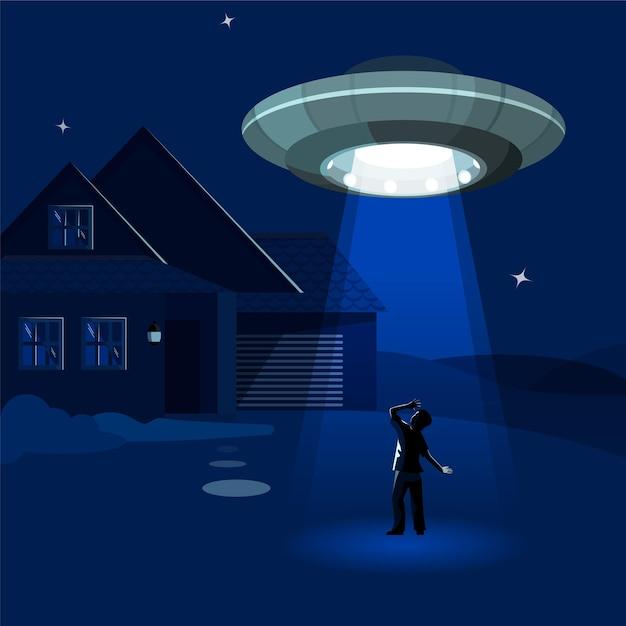 L'astronave aliena rapisce l'uomo sotto una nuvola di notte Vettore Premium
