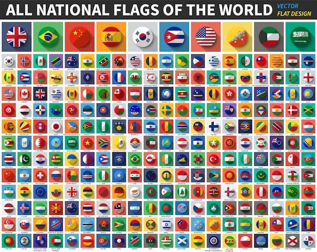 Tutte le bandiere nazionali del mondo. colore piatto e design a lunga ombra. vettore Vettore Premium