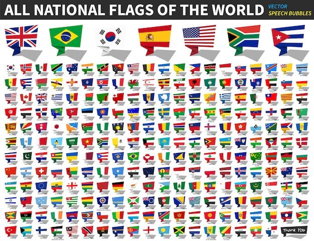 Tutte le bandiere nazionali del mondo. progettazione di bolle di discorso Vettore Premium