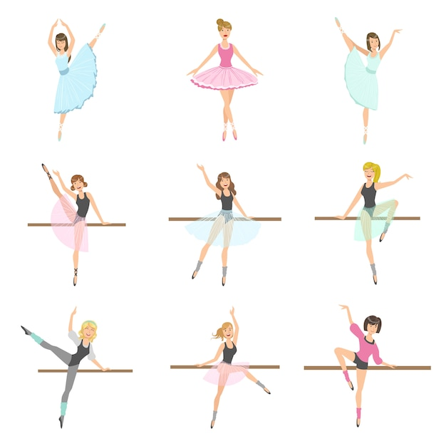 Allet dancers in diverse pose set di prove Vettore Premium