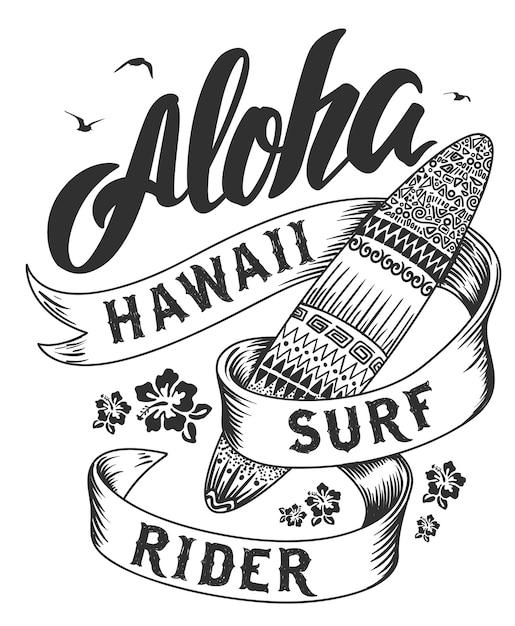 Tipografia aloha con illustrazione di tavola da surf per la stampa di t-shirt Vettore Premium