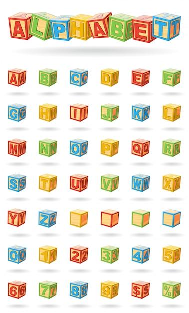 Alfabeto su un cubetti di bambino. facile cambiare i colori e ruotare i blocchi. illustrazione vettoriale su sfondo bianco. Vettore Premium
