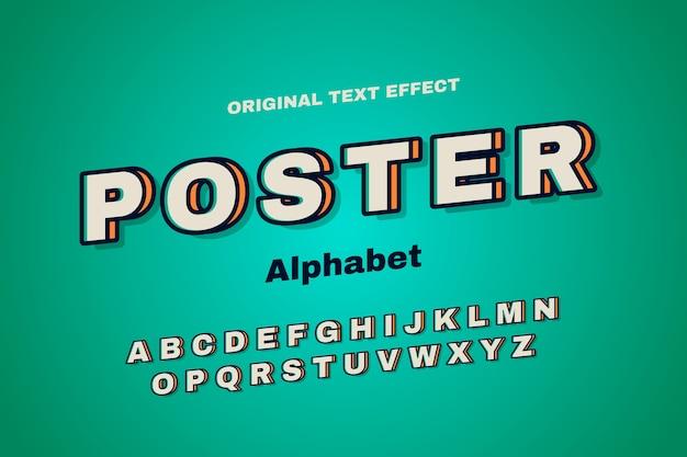 Raccolta di alfabeto nel retro concetto 3d Vettore Premium