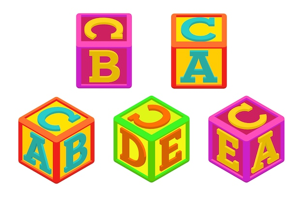 Cubetti alfabeto Vettore Premium