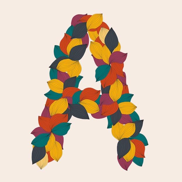 Lettere dell'alfabeto dalle foglie illustrazione Vettore Premium