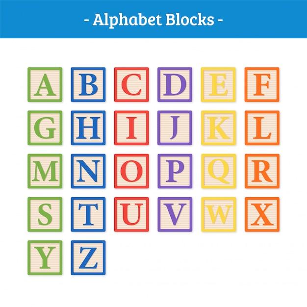Blocchi vettoriali alfabeto Vettore Premium