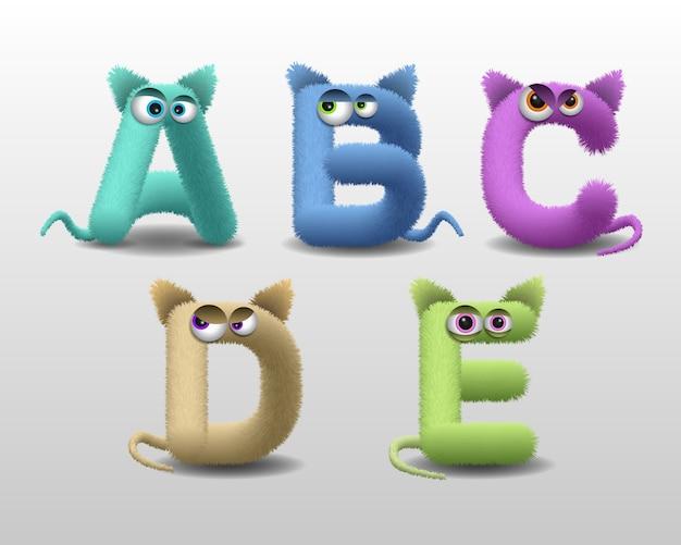 Alfabeto con simpatico personaggio di mostro di pelliccia Vettore Premium