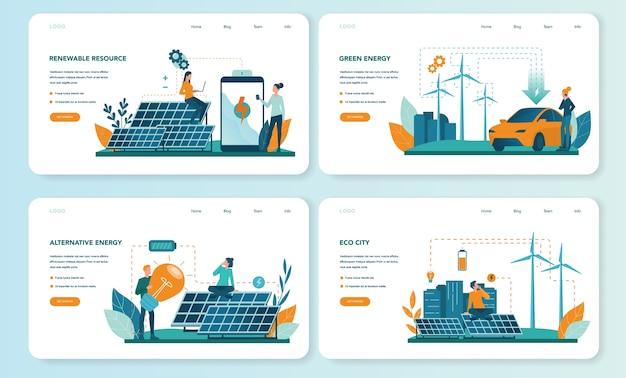 Banner web di energia alternativa o set di pagine di destinazione Vettore Premium