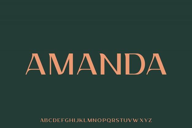 Amanda, l'alfabeto di lusso ed elegante con caratteri vettoriali Vettore Premium