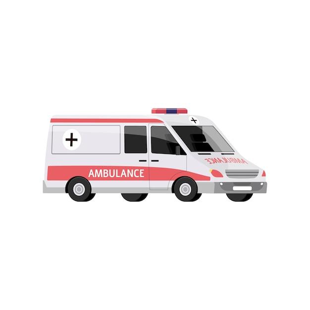 Ambulanza con sirena, trasporto medico in caso di emergenza. Vettore Premium