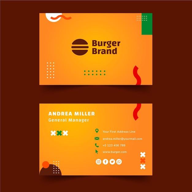 Modello di biglietto da visita orizzontale fronte-retro di cibo americano Vettore Premium