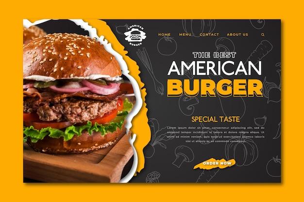 Pagina di destinazione del cibo americano Vettore Premium