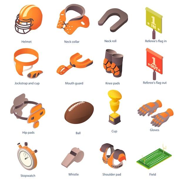 Set di icone di attrezzature di football americano. insieme isometrico delle icone dell'attrezzatura di football americano per il web su priorità bassa bianca Vettore Premium