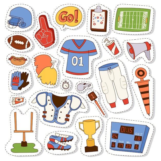 Set di icone di football americano. Vettore Premium