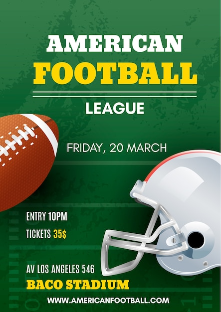 Poster di football americano con palla e casco Vettore Premium