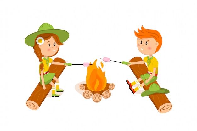 Illustrazione di marshmallow fritto di boy scout e ragazza americana Vettore Premium