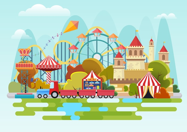 Concetto del parco di divertimenti sui precedenti delle montagne Vettore Premium
