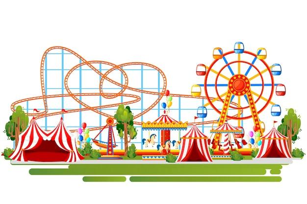 Parco divertimenti. . montagne russe, giostra, nave pirata e tende rosse. illustrazione su sfondo bianco. pagina del sito web e app per dispositivi mobili. Vettore Premium
