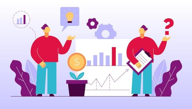 Analitica uomo lavoro di squadra sulla contabilità, analisi, ricerche di mercato, conduzione della gestione finanziaria. brainstorming dei dipendenti, creazione di idee, pianificazione della strategia di investimento. incontro d'affari Vettore Premium