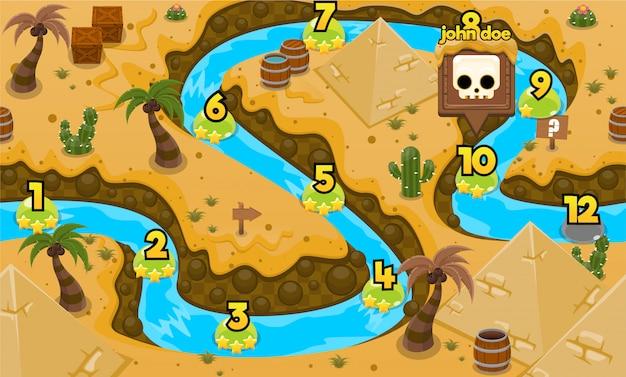 Mappa del livello di gioco dell'antico egitto Vettore Premium