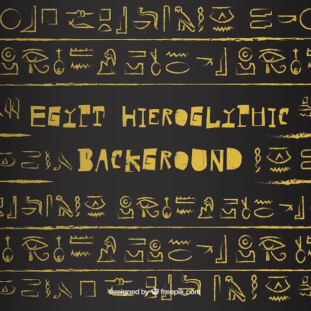 Sfondo di geroglifici antico egitto con design piatto Vettore Premium
