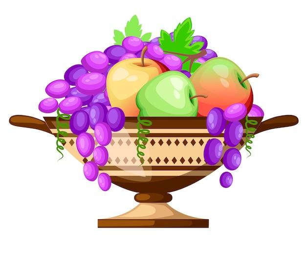 Bicchiere kylix dell'antica grecia. antica coppa di vino cylix con motivi. coppa con mele e uva. icona di ceramica greca. illustrazione su sfondo bianco. Vettore Premium