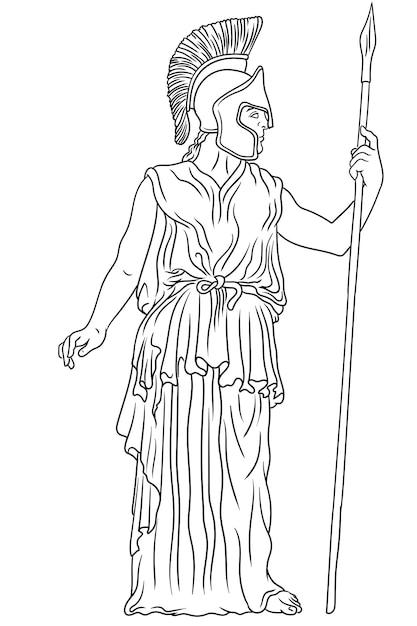 Antica dea greca pallade atena in un elmo con una lancia Vettore Premium