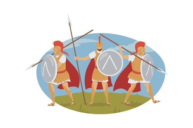 Illustrazione di evento storico greco antico. . Vettore Premium