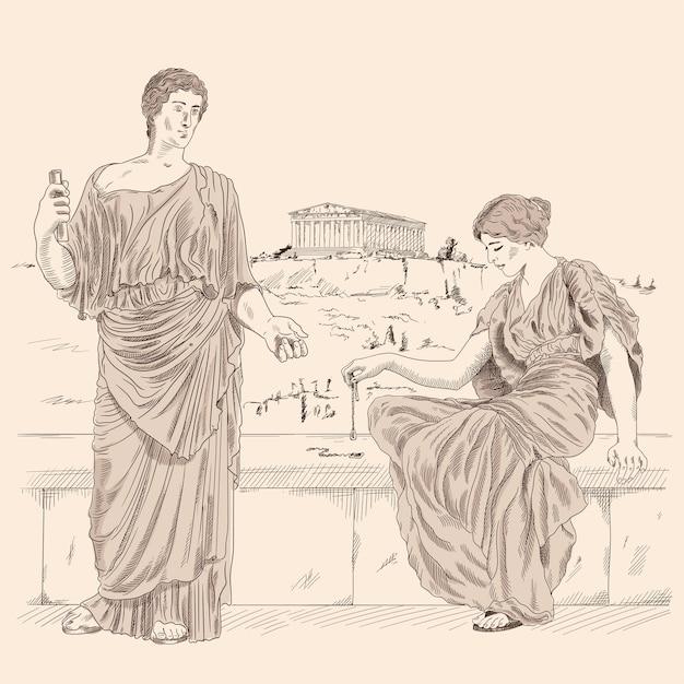 Un antico poeta greco recita poesie a una donna seduta su un parapetto di pietra sullo sfondo del paesaggio della città di atene. Vettore Premium