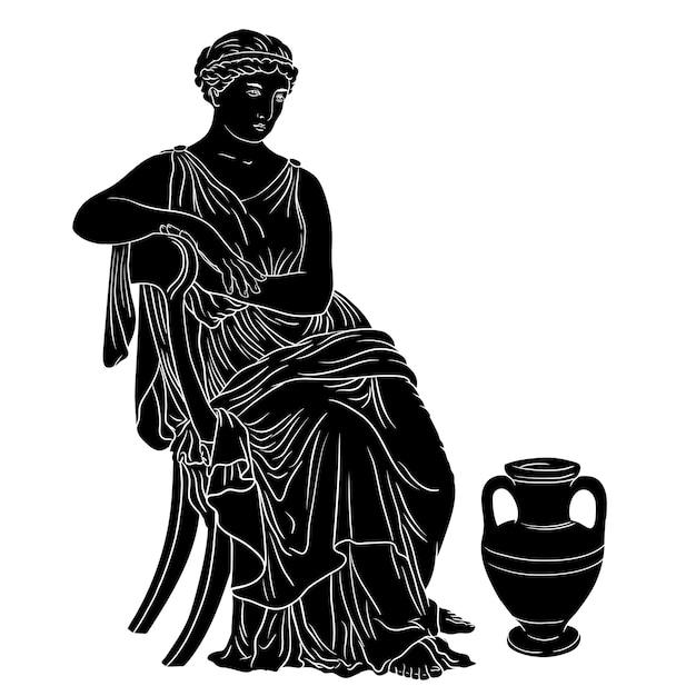 La donna greca antica si siede su una sedia vicino a una brocca di vino. siluetta nera isolata su priorità bassa bianca. Vettore Premium