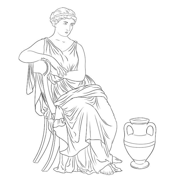 La donna greca antica si siede su una sedia vicino a una brocca di vino. figura isolata su sfondo bianco. Vettore Premium