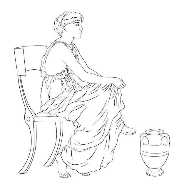 La donna greca antica si siede su una sedia vicino a una brocca di vino. Vettore Premium