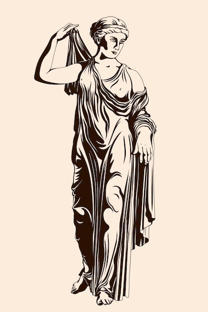 Un'antica donna greca si alza e indossa un vestito. Vettore Premium